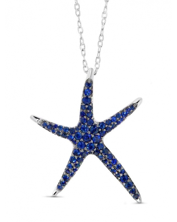 Star Fish Sapphire Necklace in 18k white gold