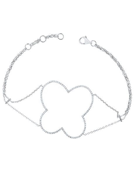 Clover Bracelet in 18k White Gold