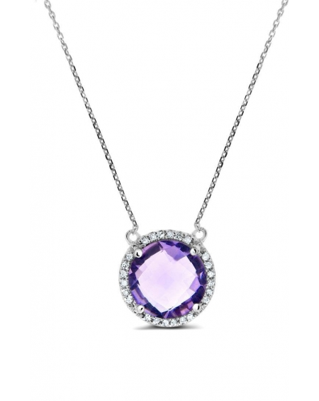Amethyst Necklace in 14k White Gold