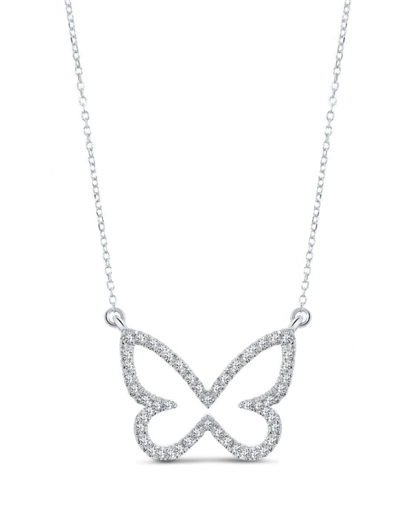 Butterfly Diamond Necklace in 14k white gold