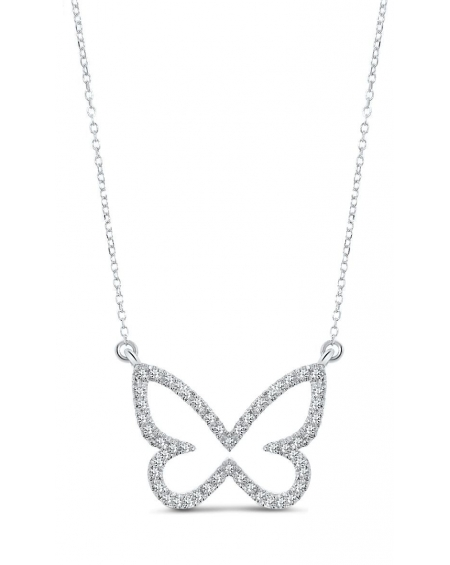 Butterfly Necklace in 14k white gold