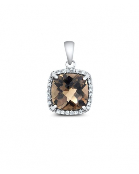 Diamonds & Smokey Pendant in 14k white gold