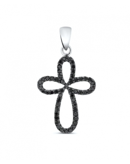 Cross Pendant in 14k white gold .23ct