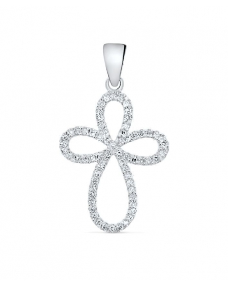 Cross Pendant in 14k white gold .20ct