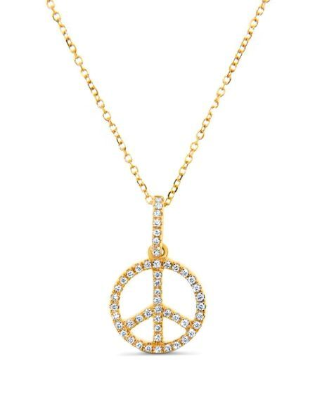 Peace Sign in 18k yellow gold