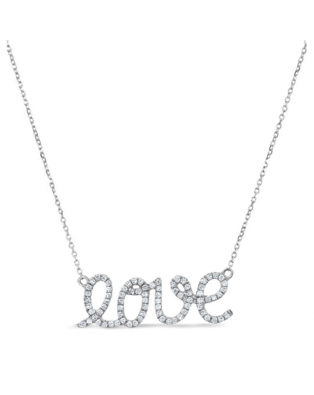 Diamond Love Necklace in 14k white gold