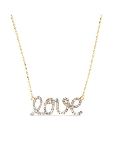 Yellow Gold Love Necklace in 14K Round Set Diamonds | Cosanuova