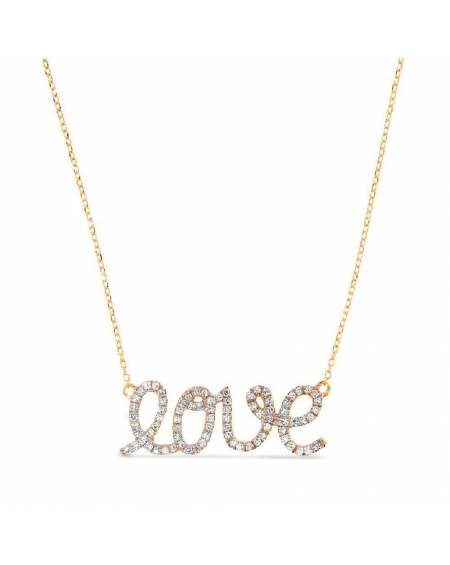 Diamond Love Necklace in 14k yellow gold