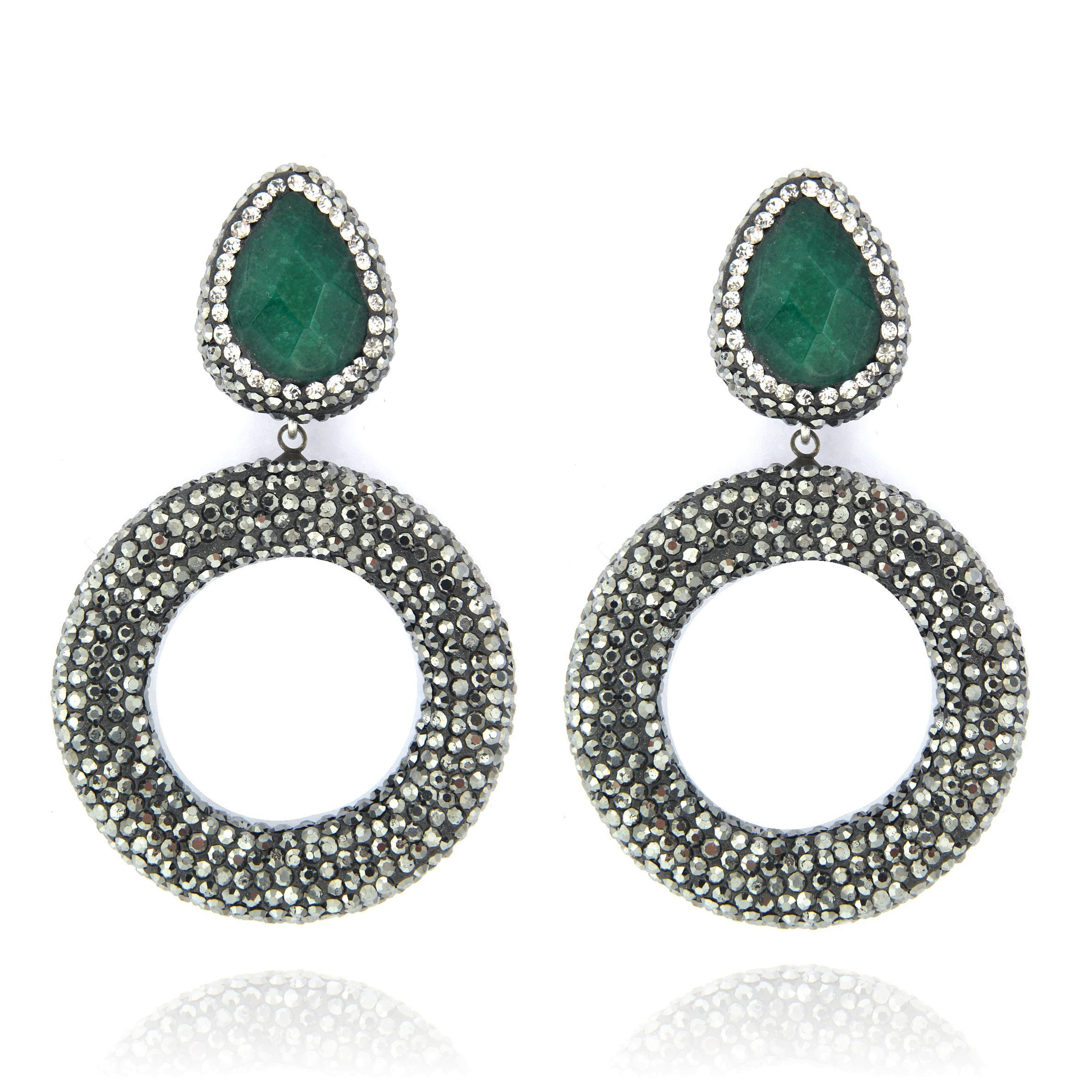 beryllos round silver sterling earrings jewellery products emerald studs