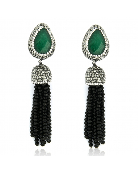 Sterling Silver Emerald & Black Tassel Earrings