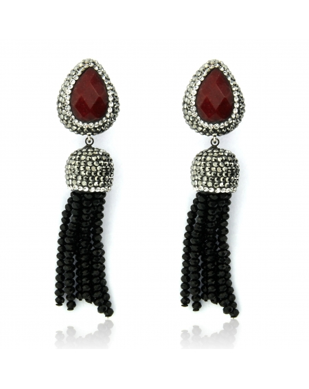 Ruby & Black Tassel Earrings