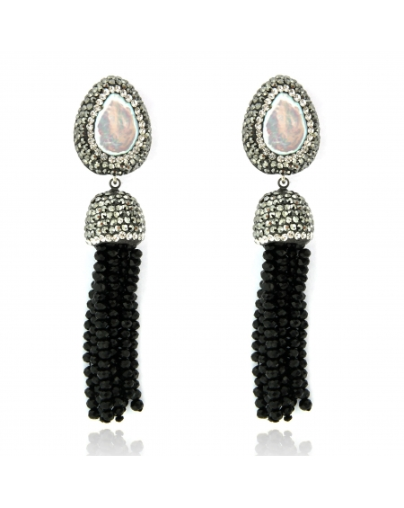 Pearl & Black Tassel Earrings