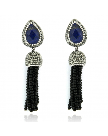 Sapphire & Black Drop Earrings