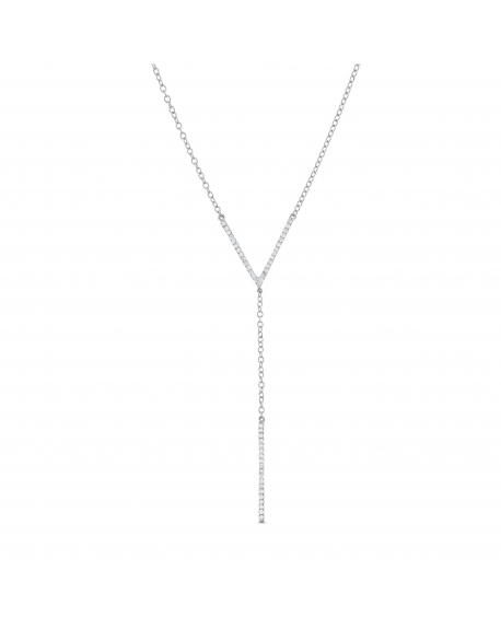 Lariat Necklace in 18k white gold