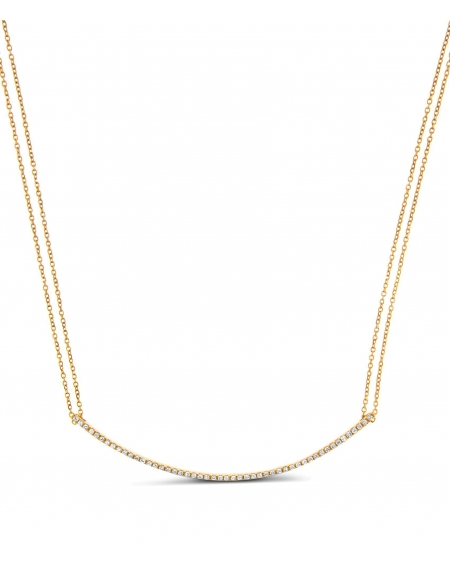 Round Bar Diamond Necklace in 18k rose gold