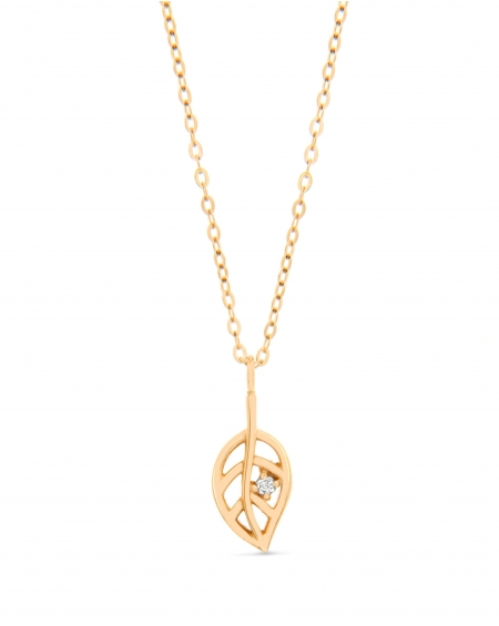 Leaf Necklace in 14k yellow gold