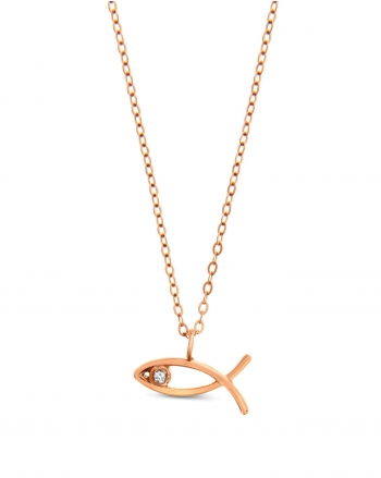 Ichthus Necklace in 14k rose gold