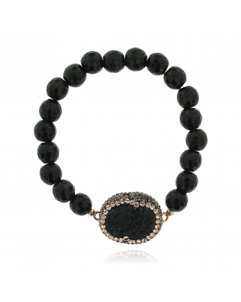 Sterling Silver Black Onyx Beaded Bracelet