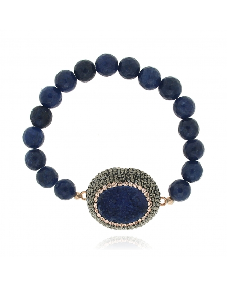 Sterling Silver Deep Blue Beaded Bracelet