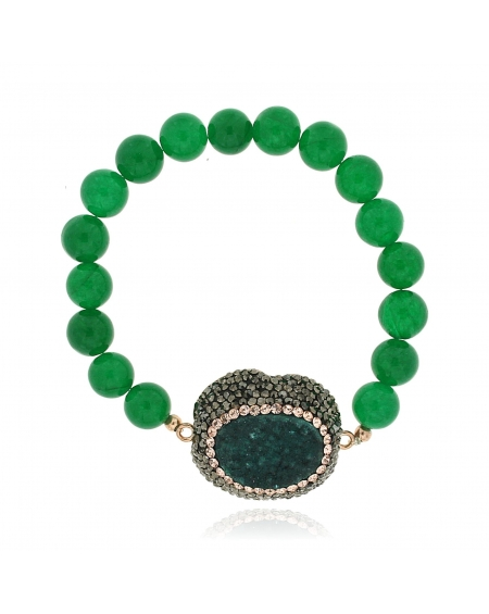 Sterling Silver Green Beaded Bracelet