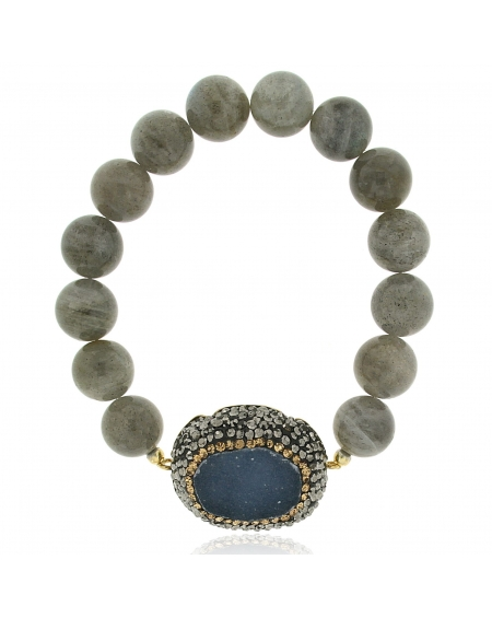 Sterling Silver Gray Beaded Bracelet