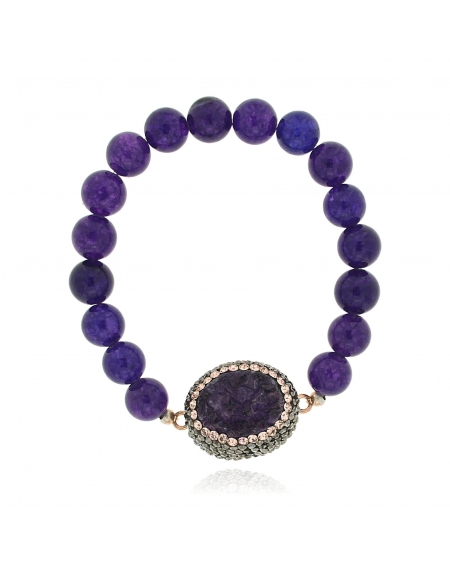 Sterling Silver Purple & Rose Beaded Bracelet