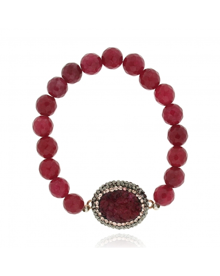 Sterling Silver Red Ruby Beaded Bracelet