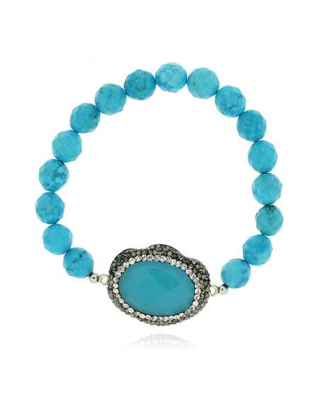 Sterling Silver Turquoise Beaded Bracelet