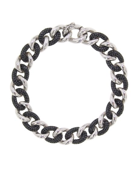 Sterling Silver Essential Black & White Link Bracelet