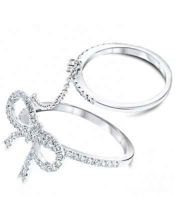 Diamond Bow Double Ring in 18k White Gold (0.42ct)