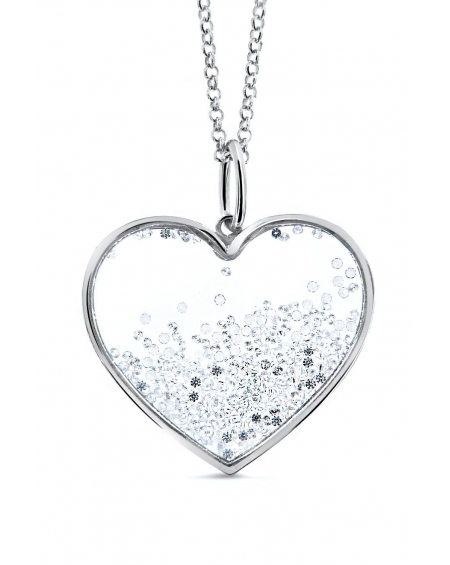 Sterling Silver Large Floating Heart Necklace