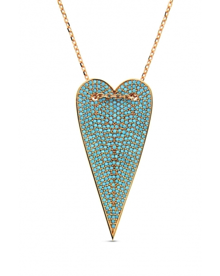 Long Rose Turquoise Heart Necklace