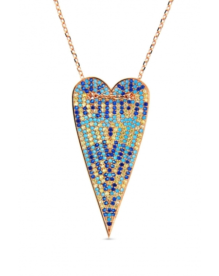 Sterling Silver Multi-color Long Heart Necklace