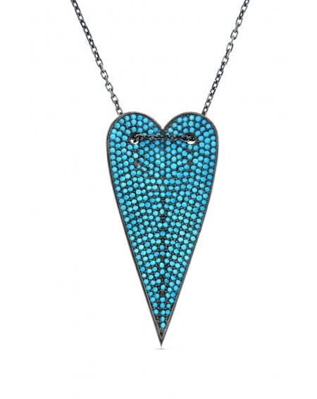 Turquoise Long Heart Necklace