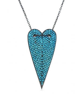 Sterling Silver Turquoise Long Heart Necklace