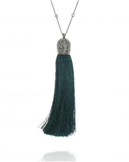 Sterling Silver Emerald Tassel Necklace