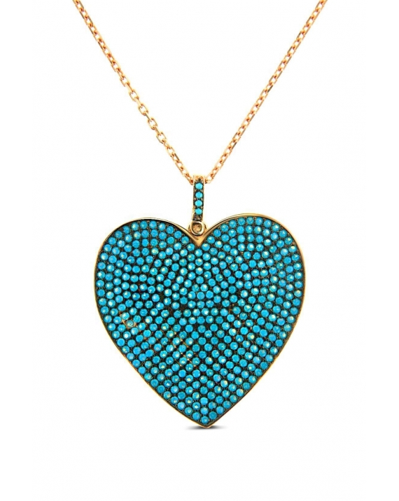 Sterling Silver Turquoise Heart Long Necklace
