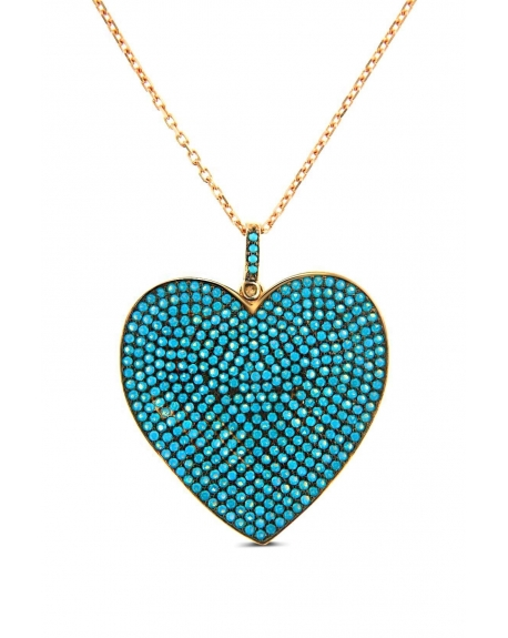 "Turquoise Heart Necklace Long 25"" Sterling Silver 