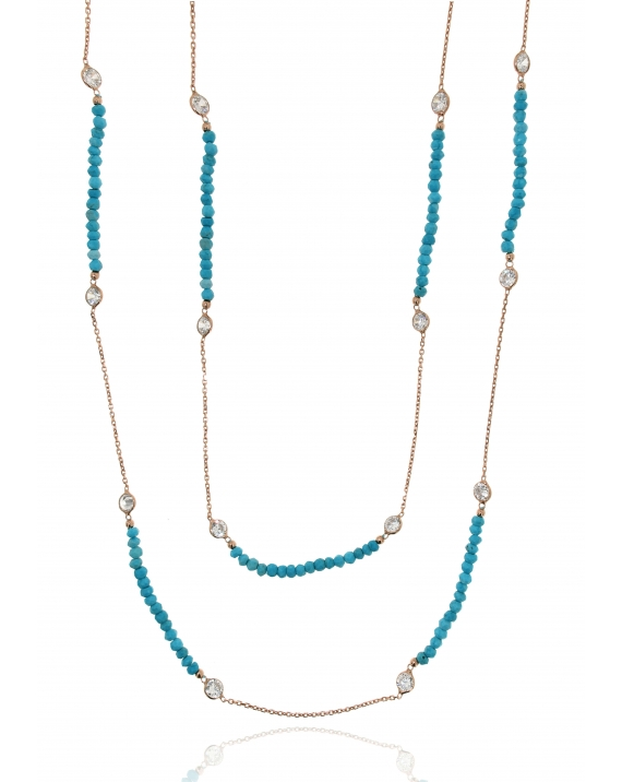 Sterling Silver Long Turquoise Necklace