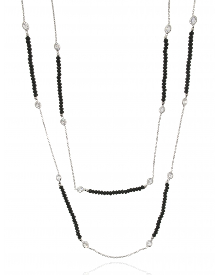Sterling Silver Long Onyx Necklace