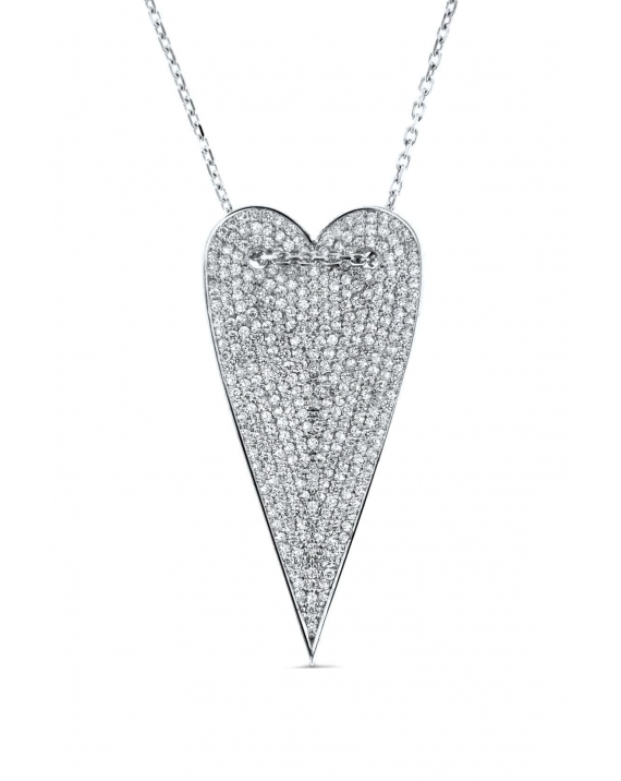 Sterling Silver Long Heart Necklace