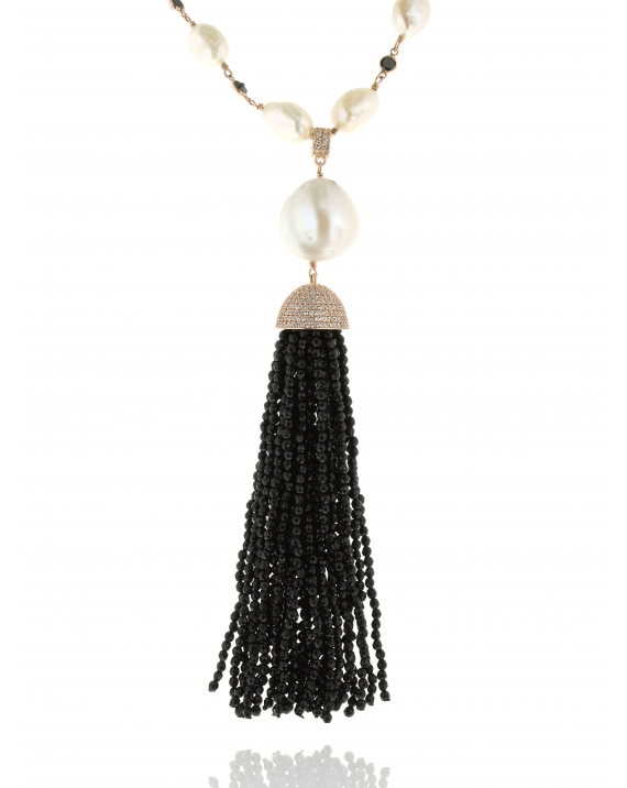 Sterling Silver Pearl & Onyx Tassel Necklace
