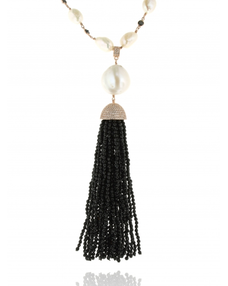 Sterling Silver Tassel Necklace Pearl & Onyx 24kt | Cosanuova