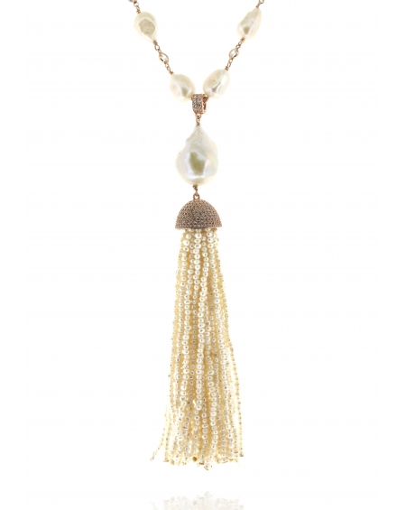 Sterling Silver Pearl & Pearl Tassel Necklace
