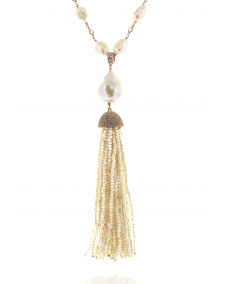 Pearl & Pearl Tassel Necklace