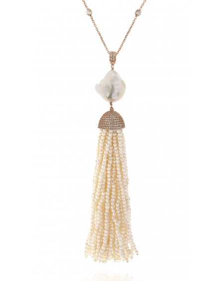 Pearl Baroque Tassel Necklace