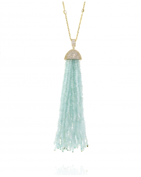 Sterling Silver Aqua Tassel Necklace