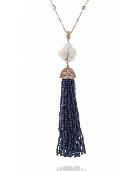 Sterling Silver Lapis Baroque Tassel Necklace