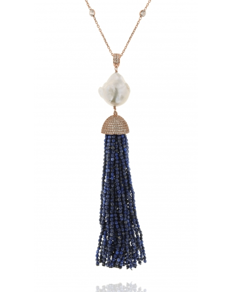 Lapis Baroque Tassel Necklace