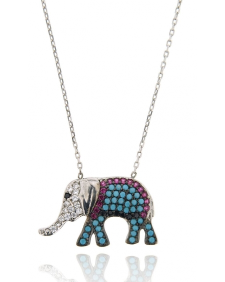 Sterling Silver White Multi-color Elephant Necklace